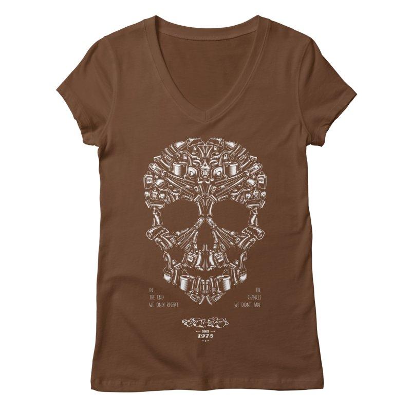 Sweet Street Skull Black Women's Regular V-Neck by zoelone's Artist Shop
