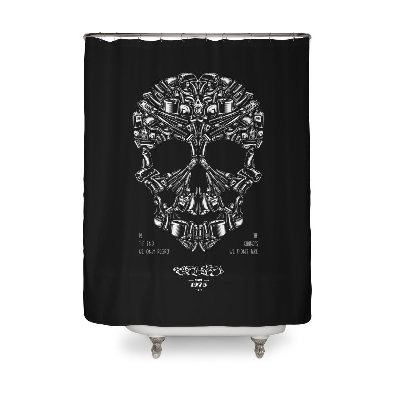 Sweet Street Skull Black Home Shower Curtain by zoelone's Artist Shop