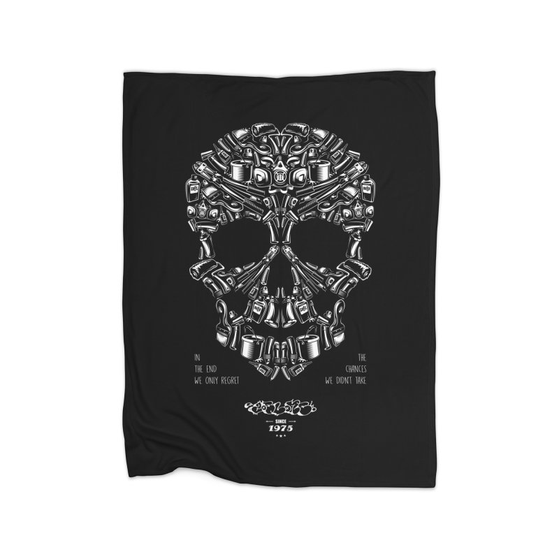 Sweet Street Skull Black Home Fleece Blanket Blanket by zoelone's Artist Shop