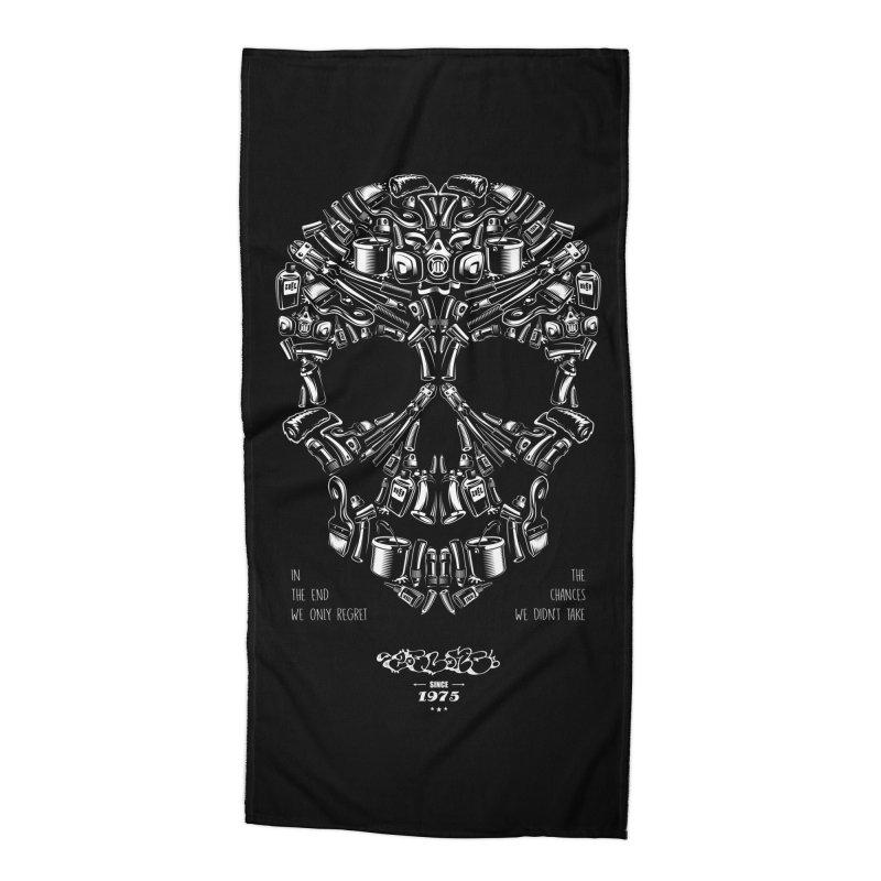 Sweet Street Skull Black Accessories Beach Towel by zoelone's Artist Shop