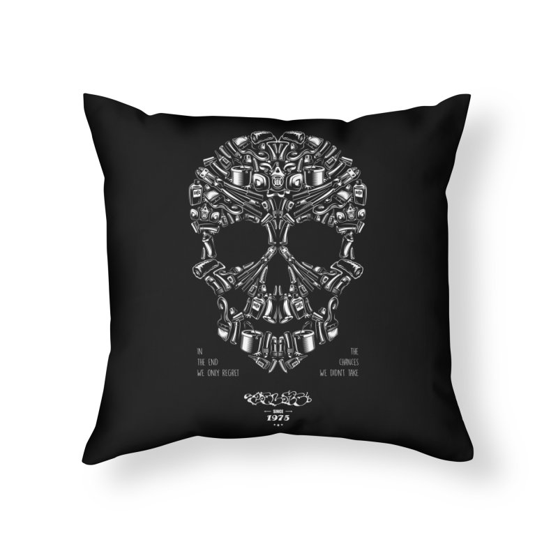 Sweet Street Skull Black Home Throw Pillow by zoelone's Artist Shop