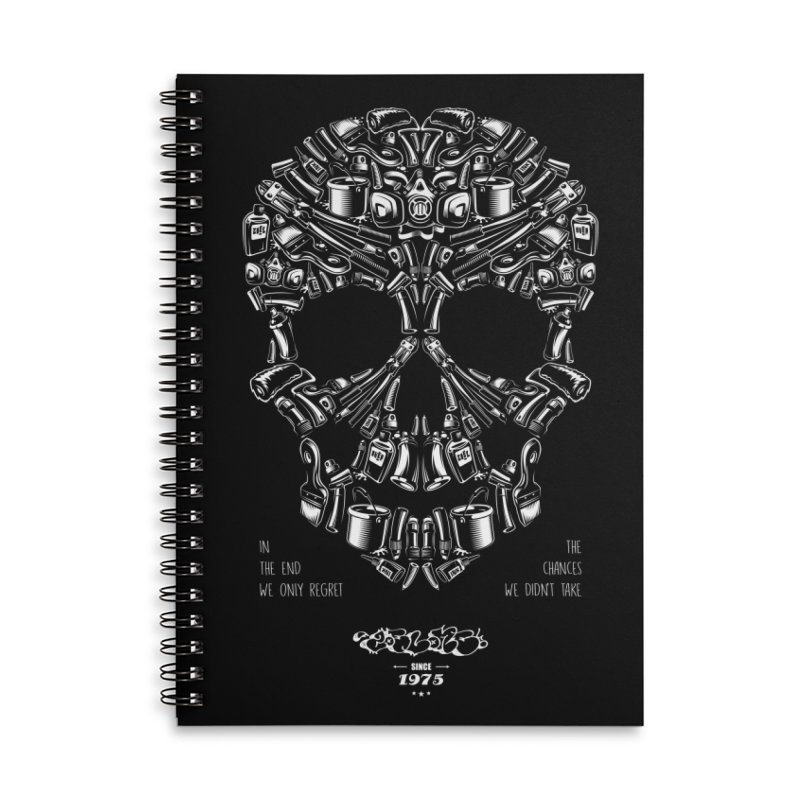 Sweet Street Skull Black Accessories Lined Spiral Notebook by zoelone's Artist Shop