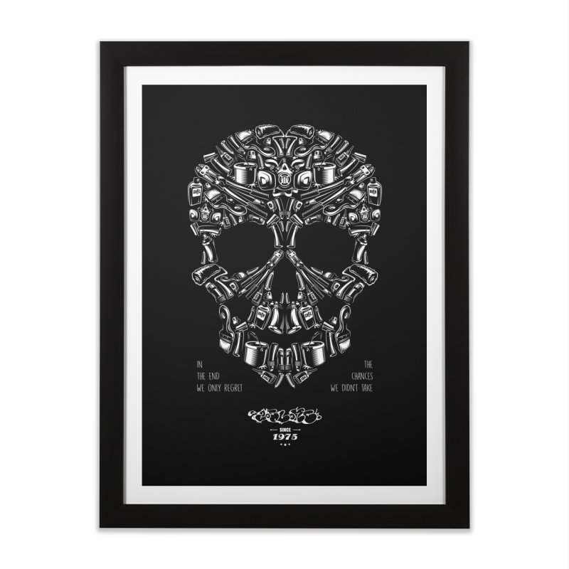 Sweet Street Skull Black Home Framed Fine Art Print by zoelone's Artist Shop