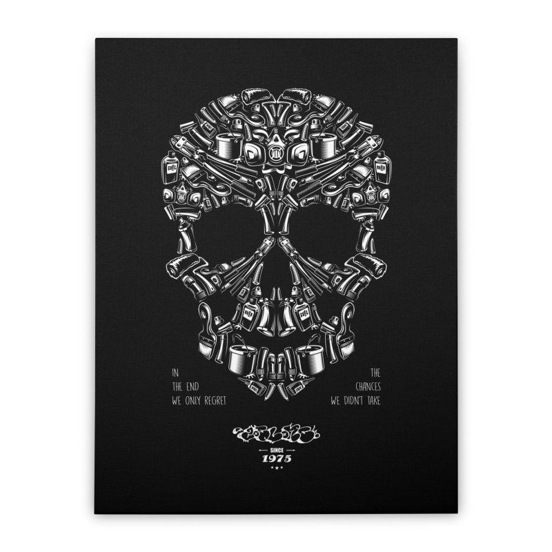 Sweet Street Skull Black Home Stretched Canvas by zoelone's Artist Shop