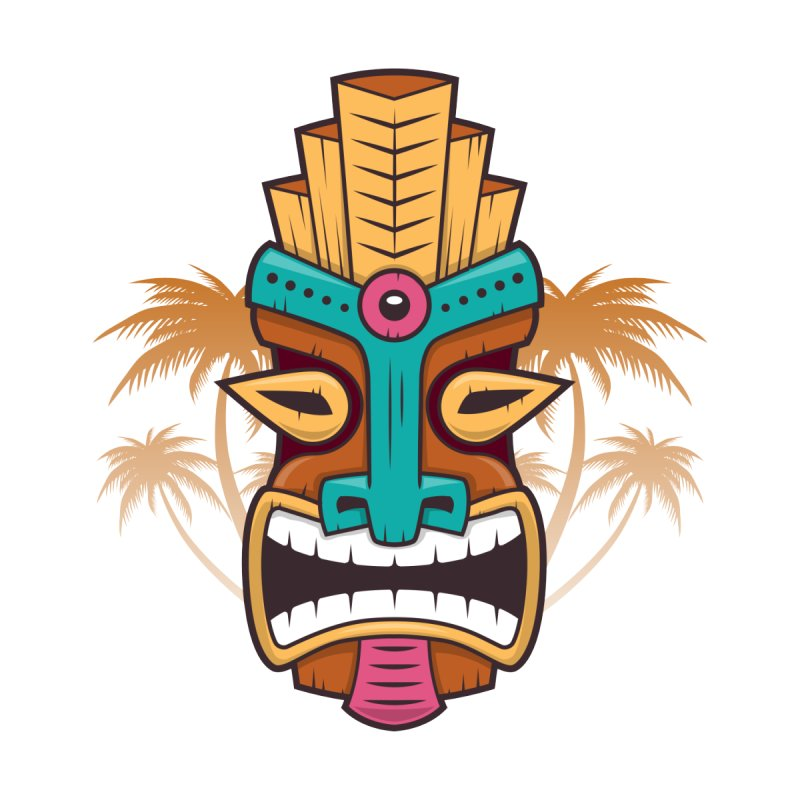 Tiki Mask Women's Scoop Neck by zoljo's Artist Shop