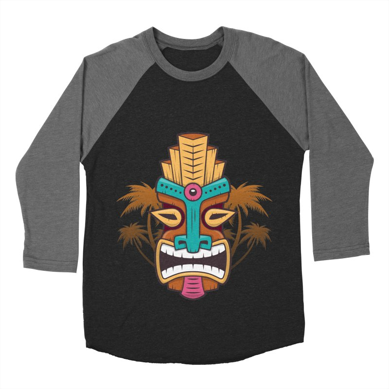 Tiki Mask Women's Baseball Triblend T-Shirt by zoljo's Artist Shop