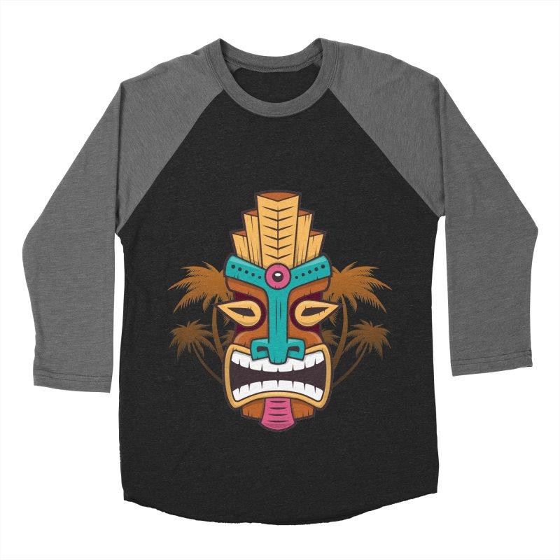 Tiki Mask Men's Baseball Triblend T-Shirt by zoljo's Artist Shop