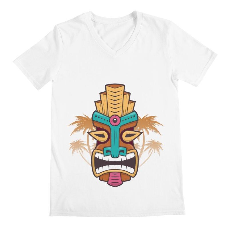Tiki Mask Men's V-Neck by zoljo's Artist Shop