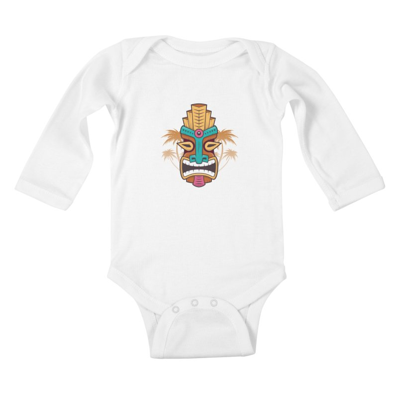 Tiki Mask Kids Baby Longsleeve Bodysuit by zoljo's Artist Shop