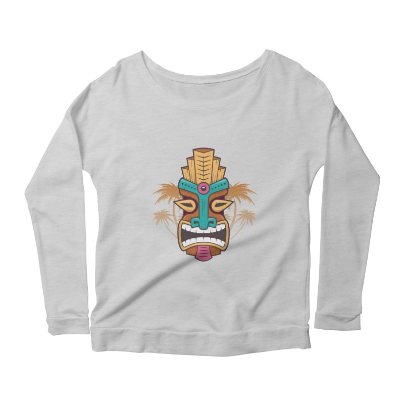 Tiki Mask Women's Longsleeve Scoopneck  by zoljo's Artist Shop