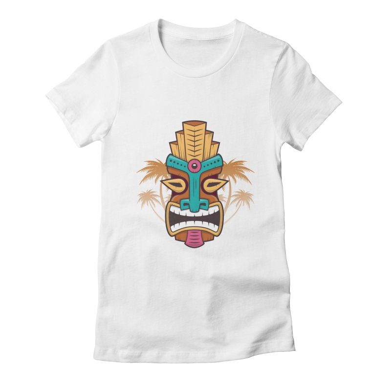 Tiki Mask Women's Fitted T-Shirt by zoljo's Artist Shop