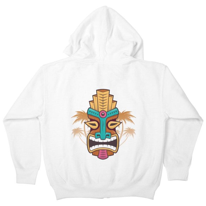 Tiki Mask Kids Zip-Up Hoody by zoljo's Artist Shop