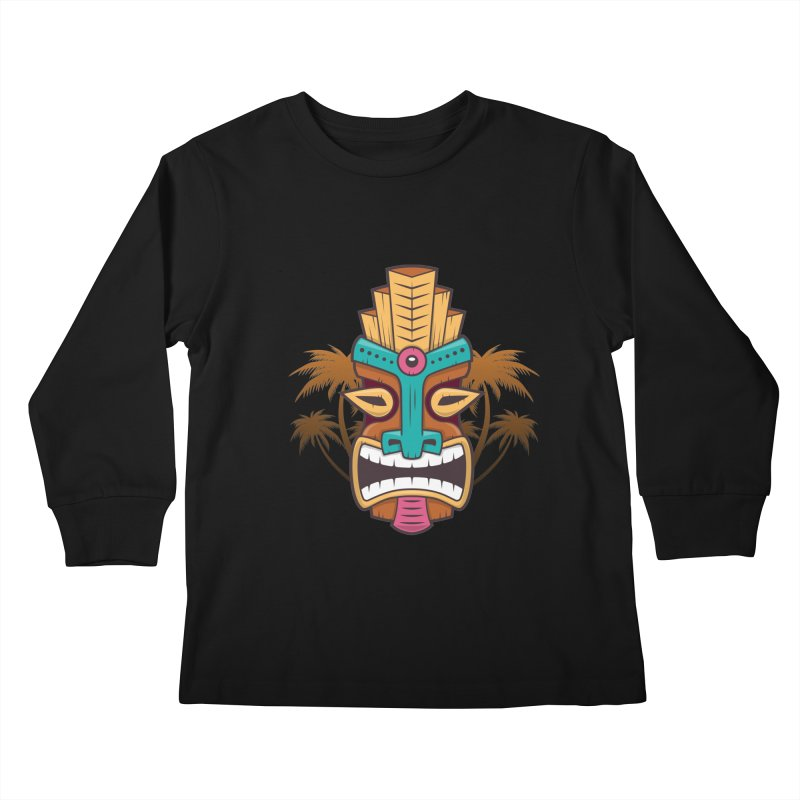 Tiki Mask Kids Longsleeve T-Shirt by zoljo's Artist Shop