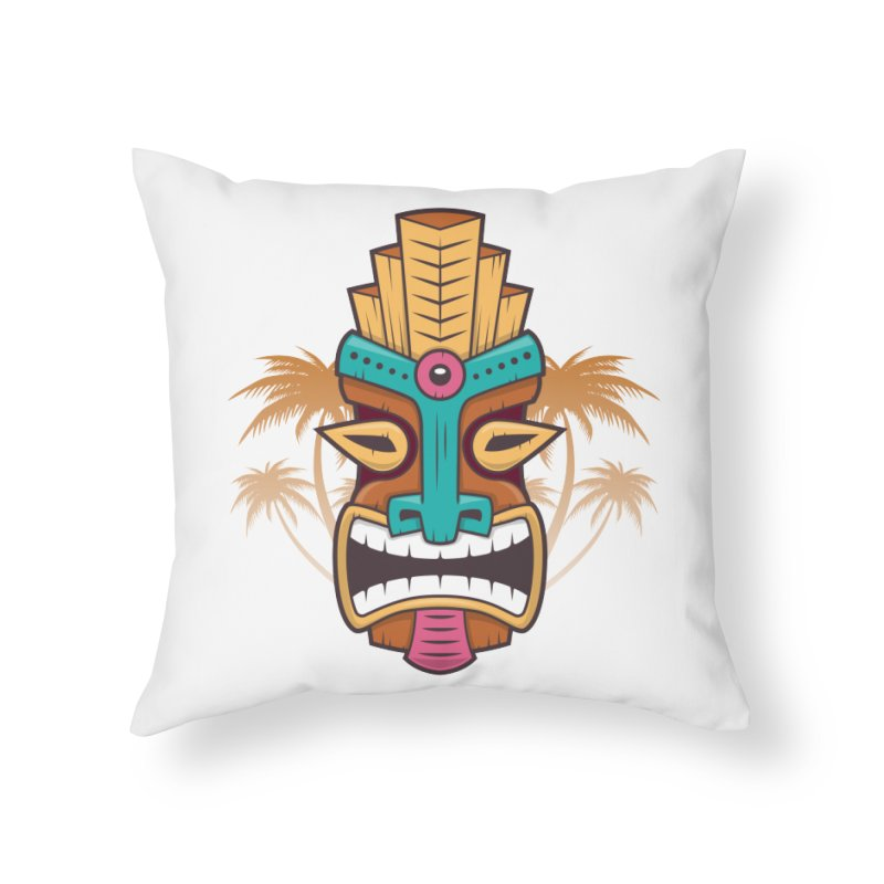 Tiki Mask Home Throw Pillow by zoljo's Artist Shop