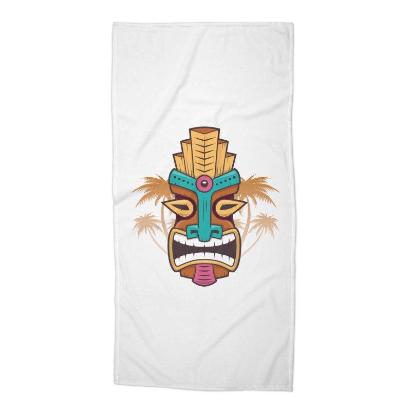 Tiki Mask Accessories Beach Towel by zoljo's Artist Shop