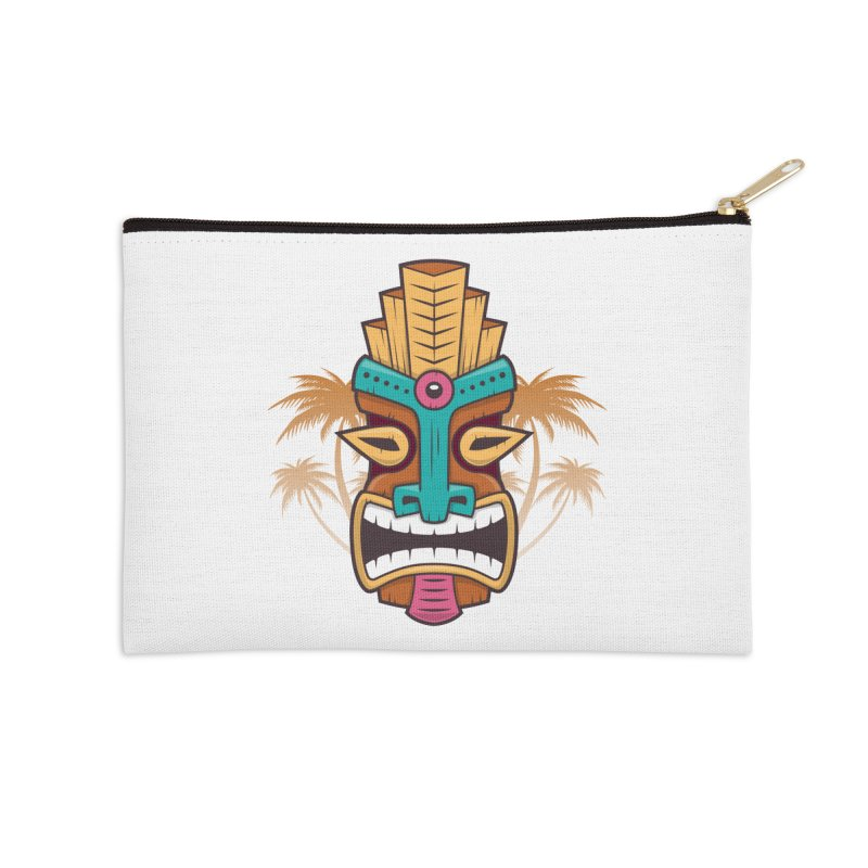 Tiki Mask Accessories Zip Pouch by zoljo's Artist Shop