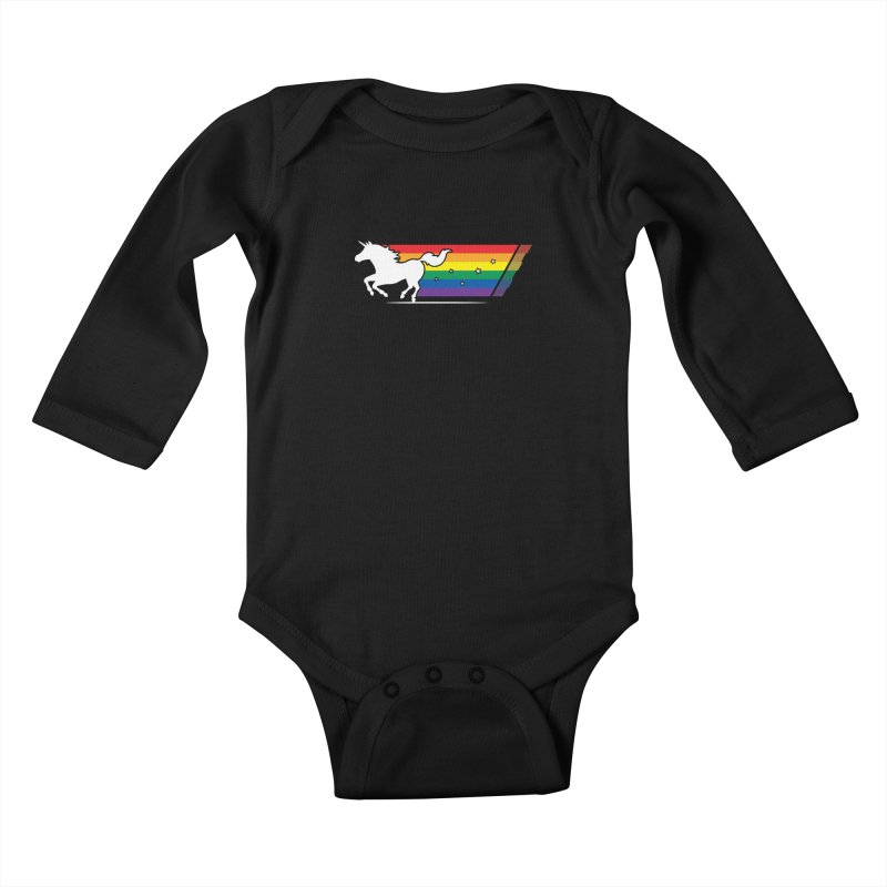 Rainbow Unicorn Gallop Kids Baby Longsleeve Bodysuit by zoljo's Artist Shop