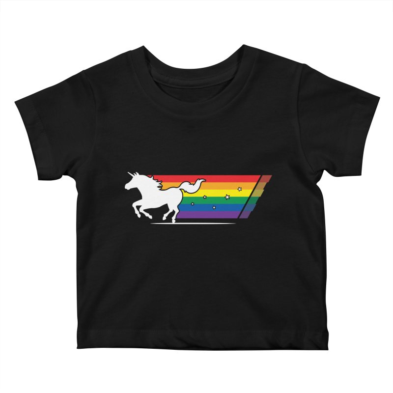 Rainbow Unicorn Gallop Kids Baby T-Shirt by zoljo's Artist Shop
