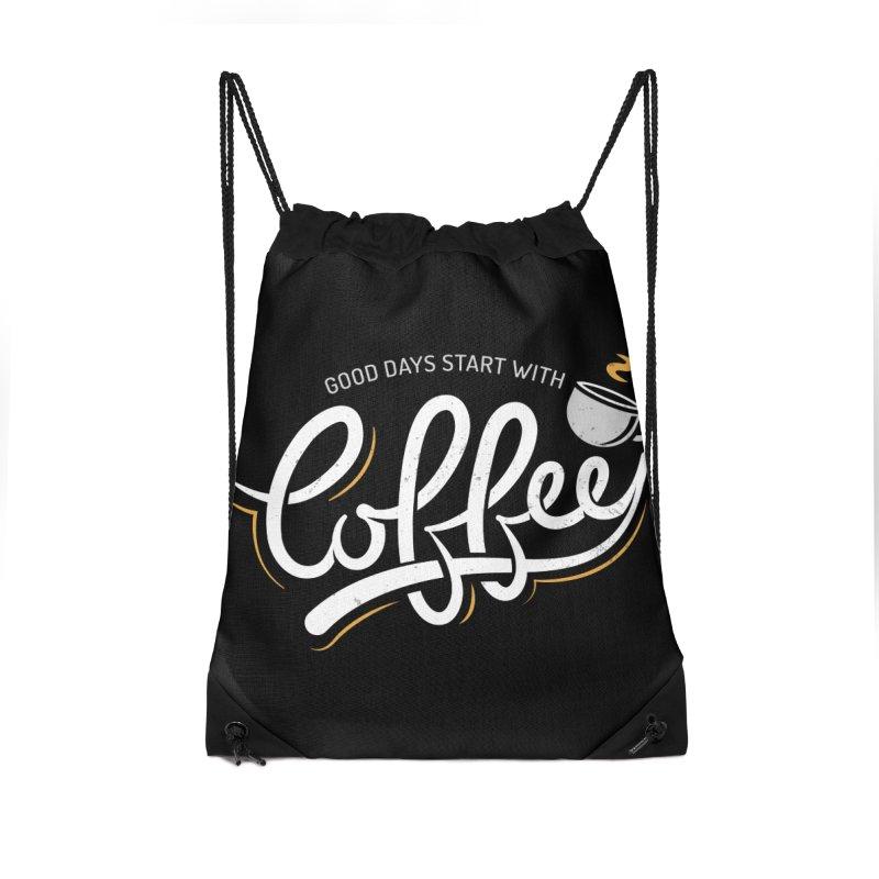 Good Days Start With Coffee Accessories Drawstring Bag Bag by zoljo's Artist Shop