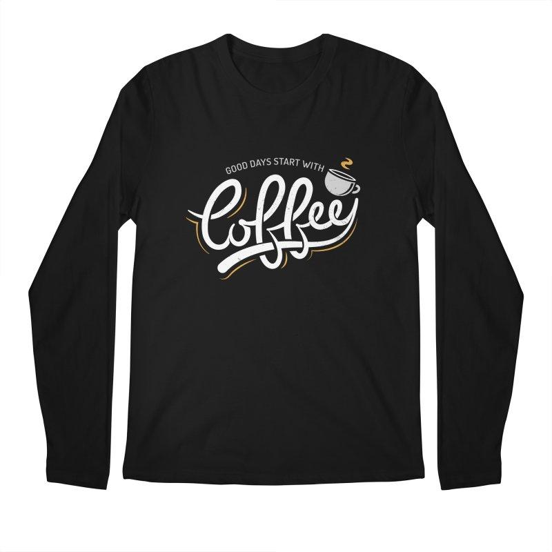 Good Days Start With Coffee Men's Regular Longsleeve T-Shirt by zoljo's Artist Shop