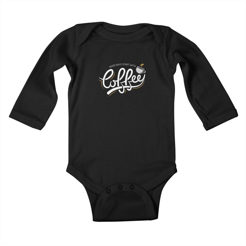 Good Days Start With Coffee Kids Baby Longsleeve Bodysuit by zoljo's Artist Shop