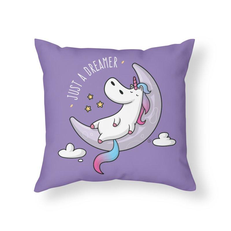 Just a Dreamer - Dreamy Unicorn Home Throw Pillow by zoljo's Artist Shop