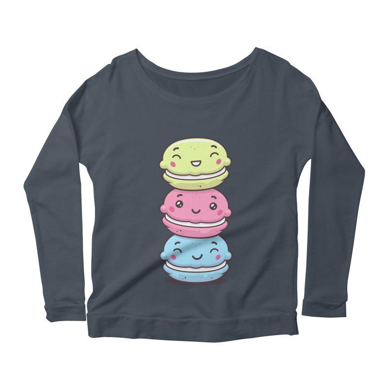 Funny Macarons Women's Scoop Neck Longsleeve T-Shirt by zoljo's Artist Shop