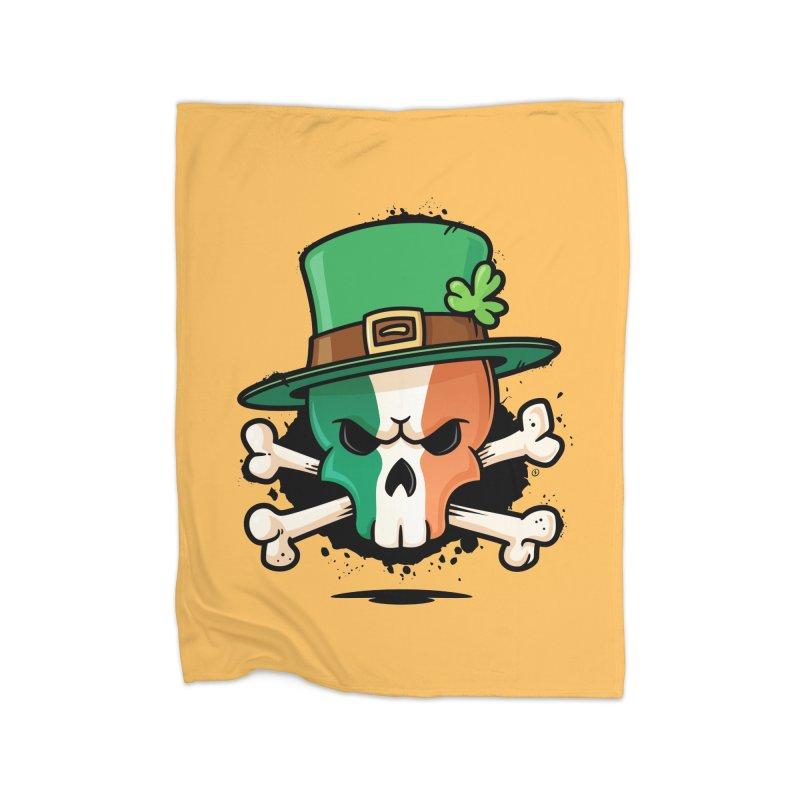 Irish Leprechaun Skull Home Fleece Blanket Blanket by zoljo's Artist Shop