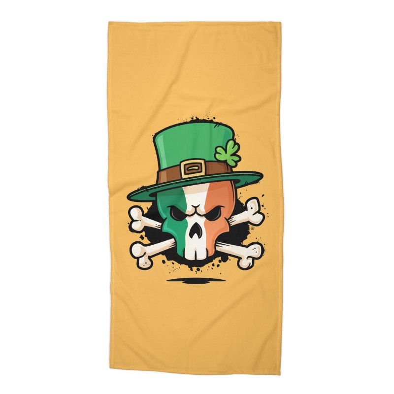 Irish Leprechaun Skull Accessories Beach Towel by zoljo's Artist Shop