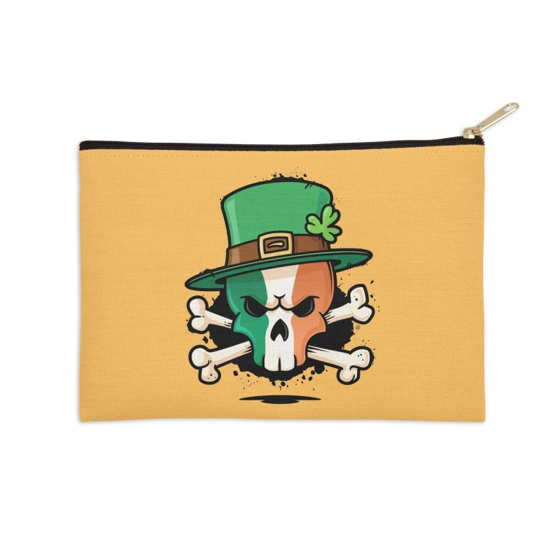Irish Leprechaun Skull Accessories Zip Pouch by zoljo's Artist Shop