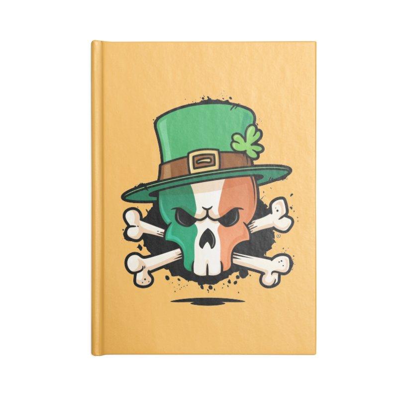 Irish Leprechaun Skull Accessories Lined Journal Notebook by zoljo's Artist Shop
