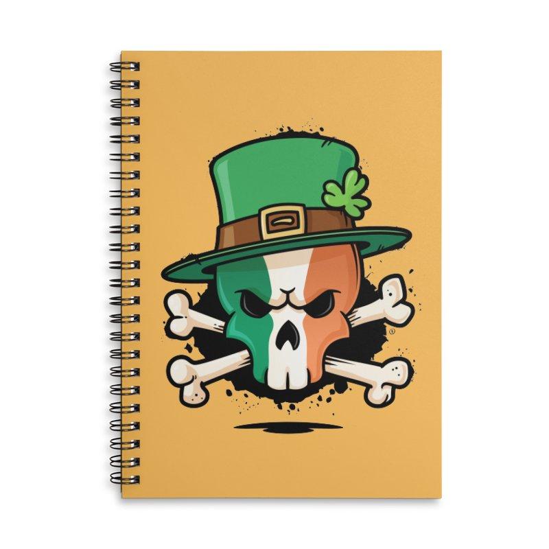 Irish Leprechaun Skull Accessories Lined Spiral Notebook by zoljo's Artist Shop
