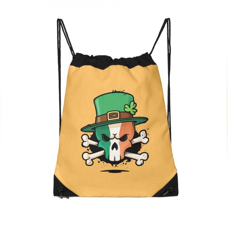 Irish Leprechaun Skull Accessories Drawstring Bag Bag by zoljo's Artist Shop