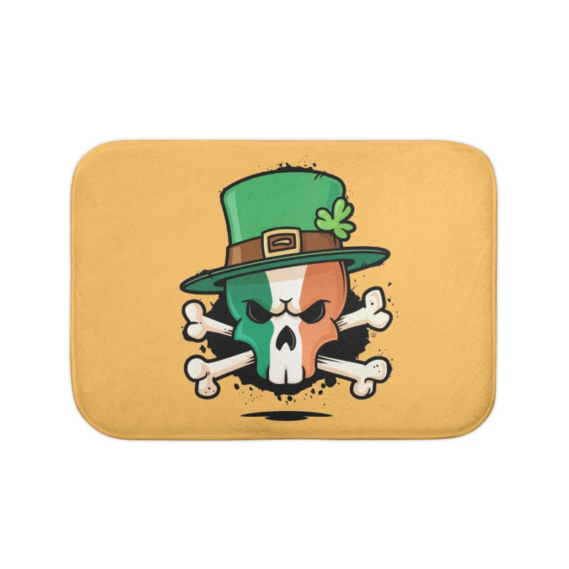 Irish Leprechaun Skull Home Bath Mat by zoljo's Artist Shop