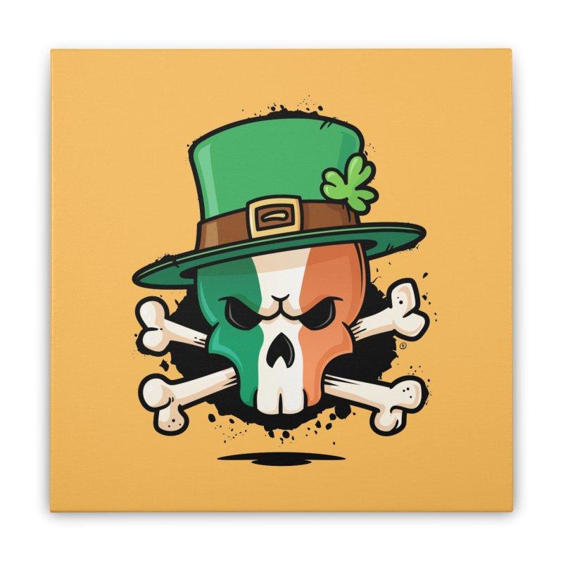 Irish Leprechaun Skull Home Stretched Canvas by zoljo's Artist Shop
