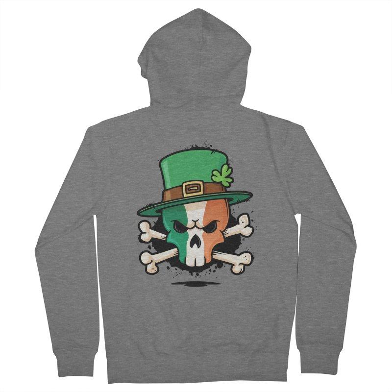 Irish Leprechaun Skull Men's French Terry Zip-Up Hoody by zoljo's Artist Shop