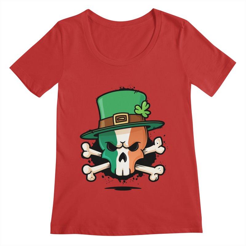 Irish Leprechaun Skull Women's Regular Scoop Neck by zoljo's Artist Shop