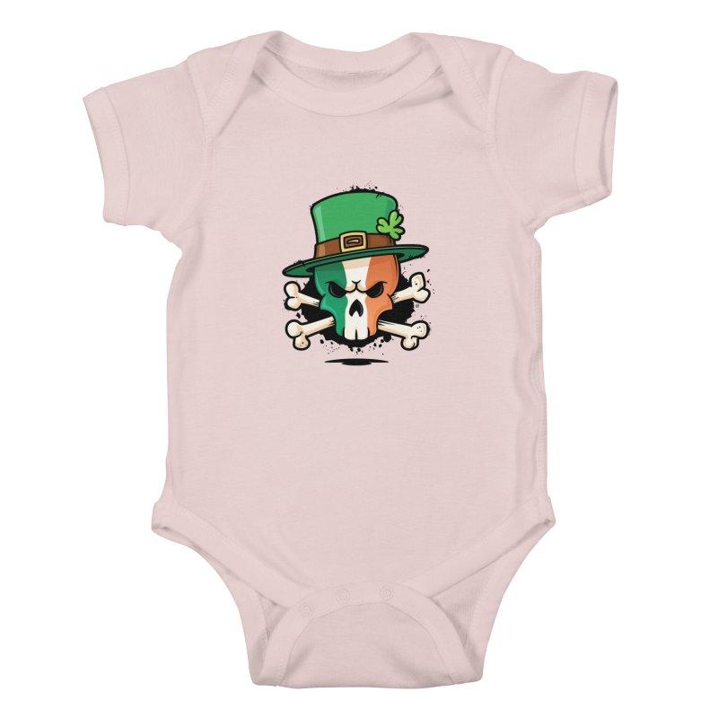 Irish Leprechaun Skull Kids Baby Bodysuit by zoljo's Artist Shop