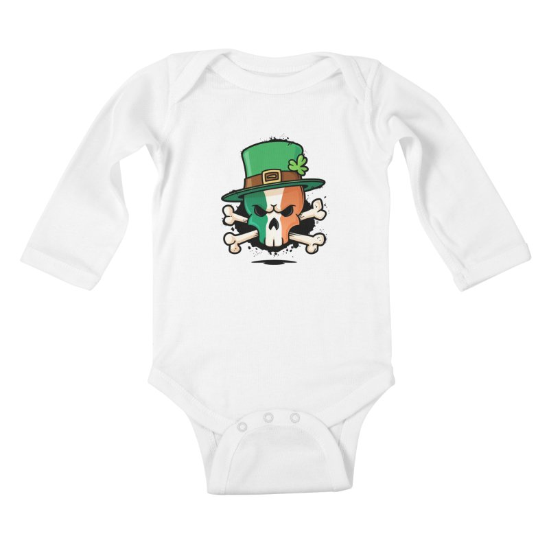 Irish Leprechaun Skull Kids Baby Longsleeve Bodysuit by zoljo's Artist Shop