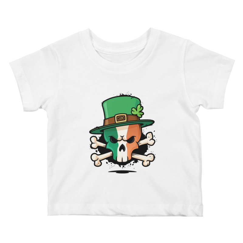 Irish Leprechaun Skull Kids Baby T-Shirt by zoljo's Artist Shop