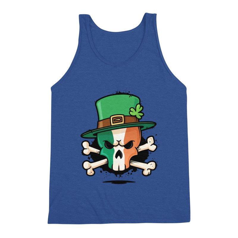 Irish Leprechaun Skull Men's Triblend Tank by zoljo's Artist Shop