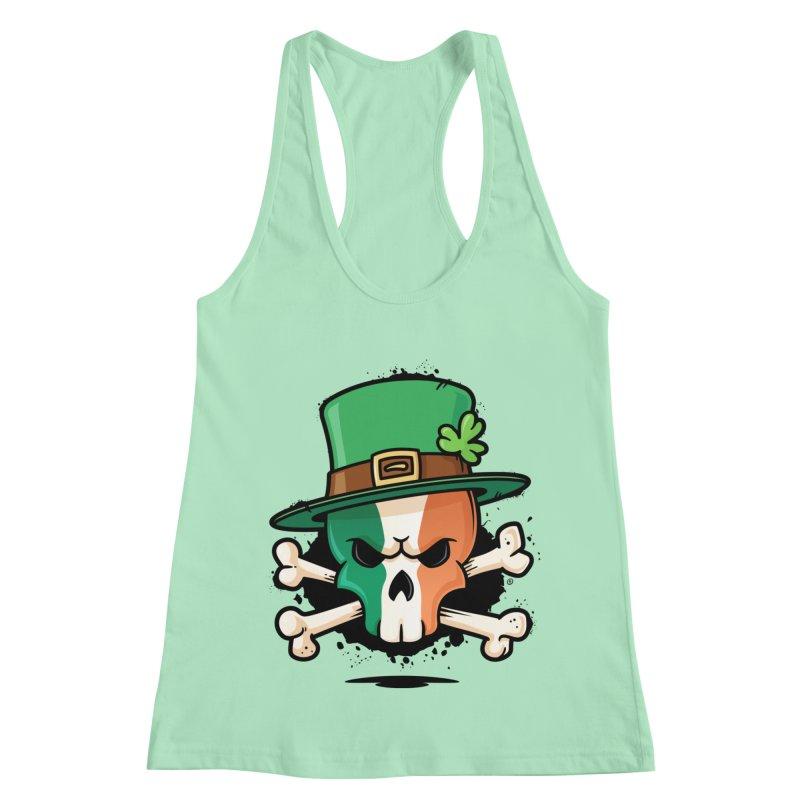 Irish Leprechaun Skull Women's Racerback Tank by zoljo's Artist Shop