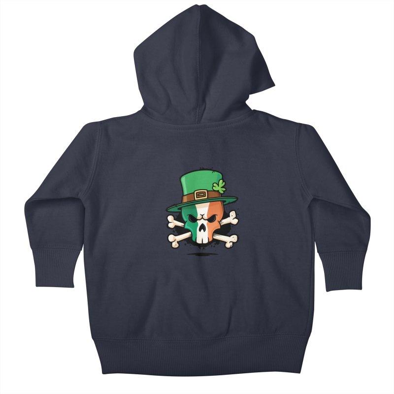 Irish Leprechaun Skull Kids Baby Zip-Up Hoody by zoljo's Artist Shop