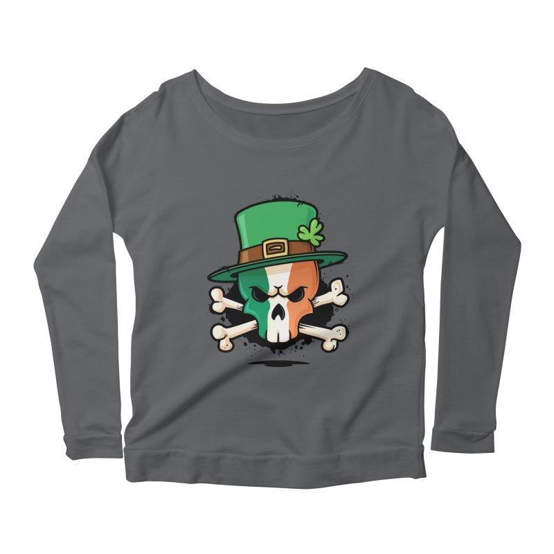 Irish Leprechaun Skull Women's Scoop Neck Longsleeve T-Shirt by zoljo's Artist Shop
