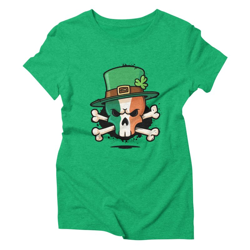 Irish Leprechaun Skull Women's Triblend T-Shirt by zoljo's Artist Shop