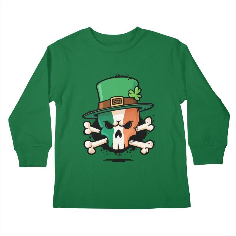 Irish Leprechaun Skull Kids Longsleeve T-Shirt by zoljo's Artist Shop