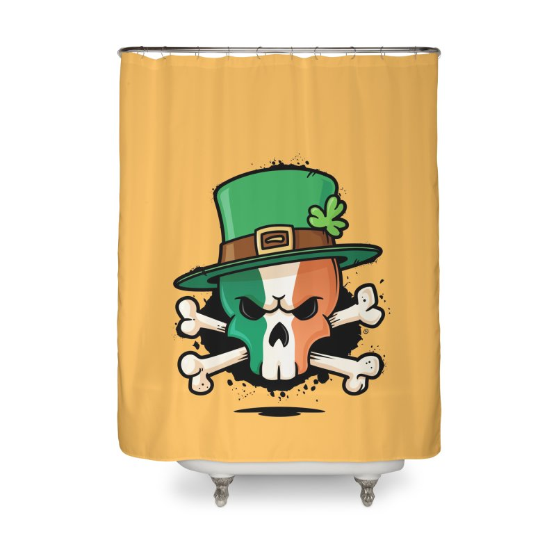 Irish Leprechaun Skull Home Shower Curtain by zoljo's Artist Shop