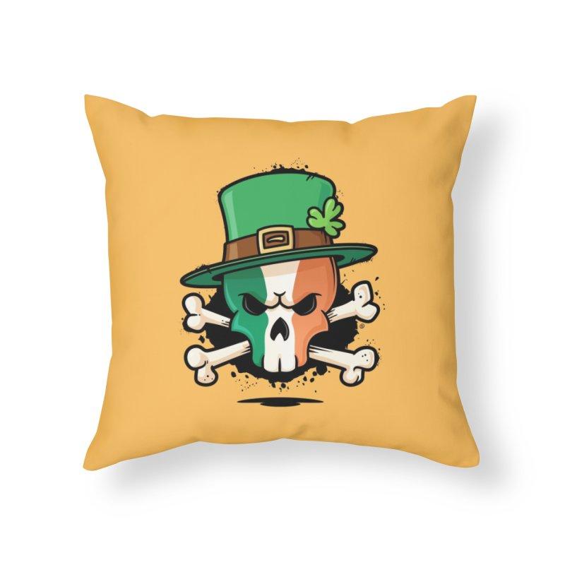 Irish Leprechaun Skull Home Throw Pillow by zoljo's Artist Shop