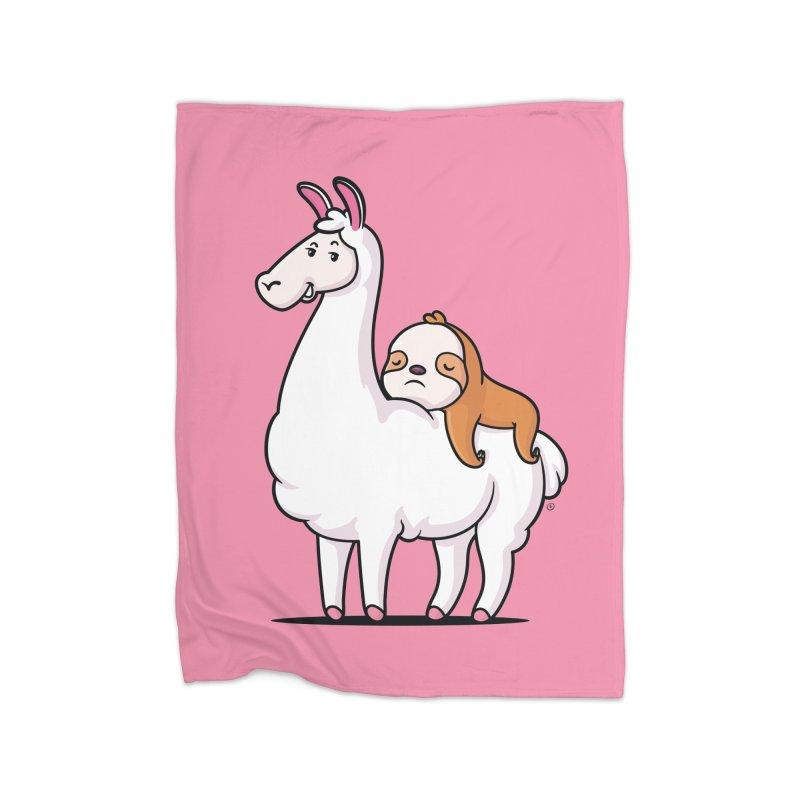 Best Friends LLama and Sloth Home Fleece Blanket Blanket by zoljo's Artist Shop