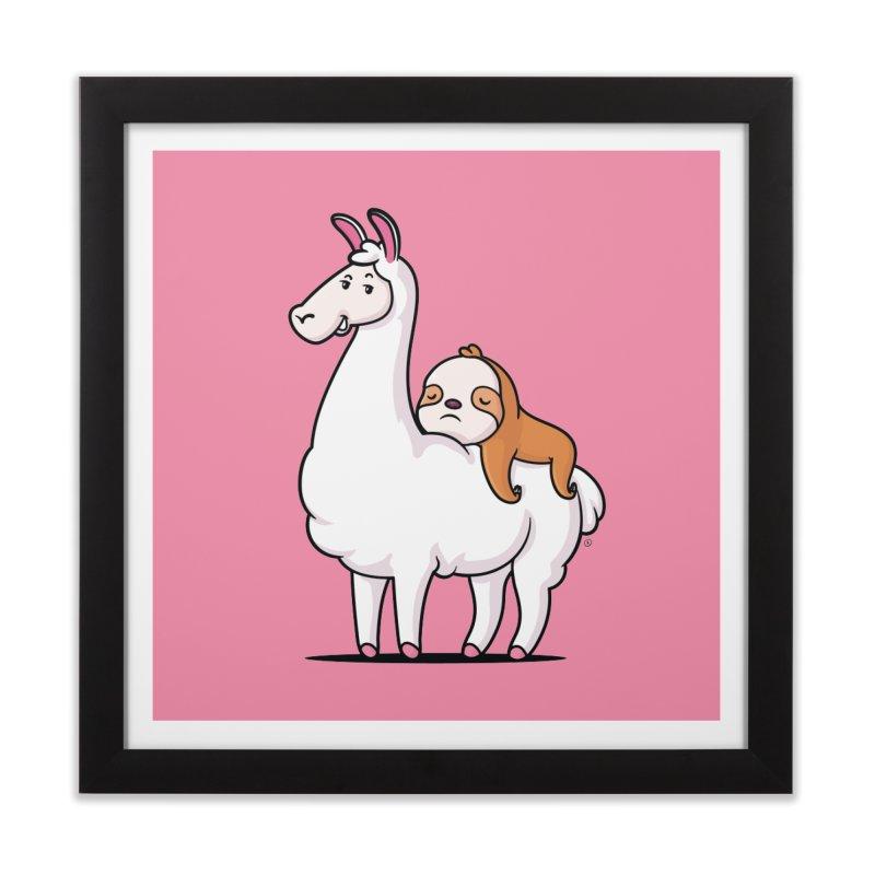 Best Friends LLama and Sloth Home Framed Fine Art Print by zoljo's Artist Shop